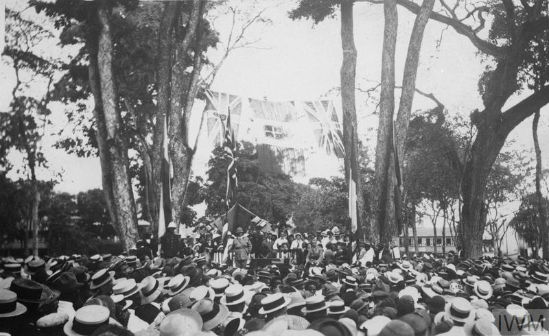 A recruiting meeting in Port of Spain, Trinidad, 1916.