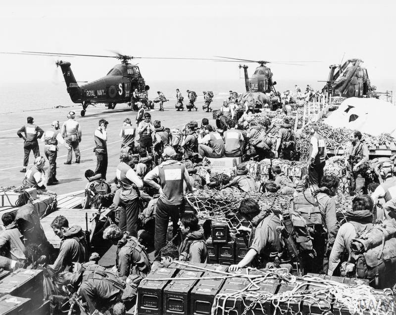 Wessex helicopters and commandos on board HMS HERMES during the Cyprus emergency, 1974.