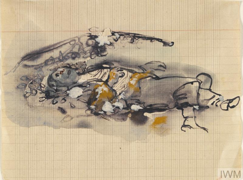 A soldier's body lying on the ground, surrounded by debris. He is lying on his back with eyes open.