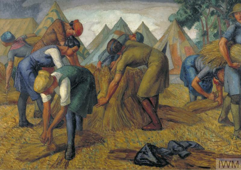 Voluntary Land Workers in a Flax-field by Randolph Schwabe