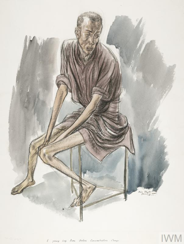 a full-length portrait of a clothed, skeletal boy sitting on a stool. His clothing does not cover his arms and legs, which are extremely thin, displaying that he is suffering from starvation.