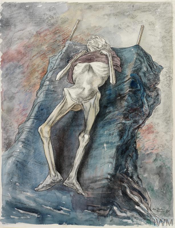 Dying Starvation & Torture at Belsen Concentration. Canvas
