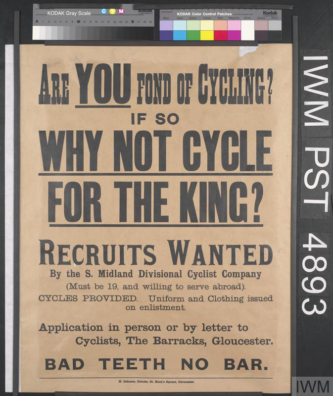 South Midland Divisional Cyclist Company recruitment poster.