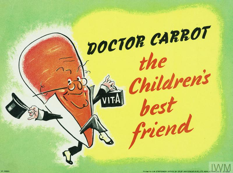 'Dr Carrot', a bright orange bespectacled carrot, skips left to right carrying a top hat and a doctor's briefcase marked 'Vit- A'. text: DOCTOR CARROT the Children's best friend.
