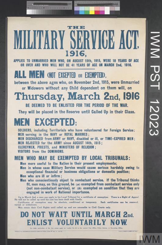 The Military Service Act 1916 Imperial War Museums