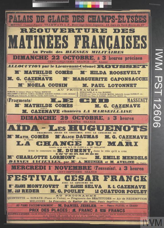 Réouverture des Matinées Françaises | Imperial War Museums