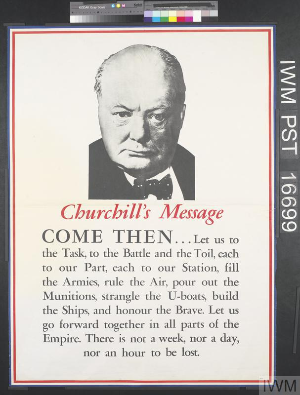 """churchhills essay """"we shall not flag or fail, we shall go on to the end we shall fight in france, we shall fight in."""