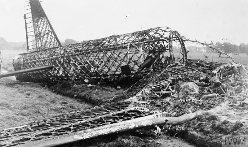 Wreckage of a Wellington bomber shot down by flak over the Netherlands. It was one of 21 aircraft lost on the Bremen raid of 13-14 September 1942.