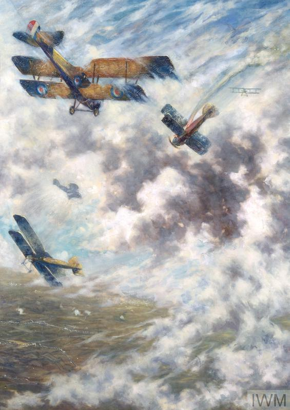 A view of a dogfight involving five aircraft. In the upper foreground a biplane of the RAF flies towards a stricken German biplane, which is falling towards the ground leaving a trail of smoke in its wake.