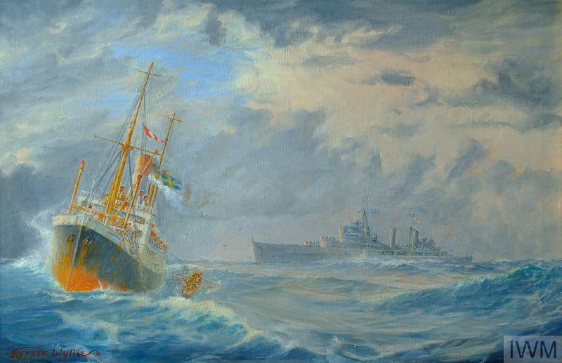 HMS Belfast on Northern Patrol captures the German blockade runner 'Cap Norte' 13,615 tons 9th October 1939