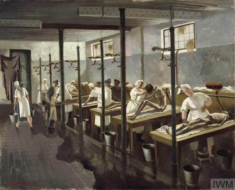 A line of wooden tables the front three with an emaciated figure sitting or lying on top. Each of the figures is being washed by a man or woman dressed in a white uniform. A metal bucket stands at the foot of every table; a woman is seen walking out of the room carrying a bucket in either hand.