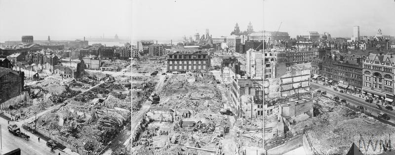 A panoramic photograph of Liverpool, taken in 1942, which shows the extent of bomb damage in the city.