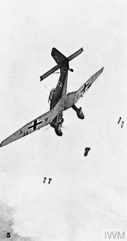 Bombs falling away from a Junkers Ju-87 Stuka dive bomber during the Battle of Britain.