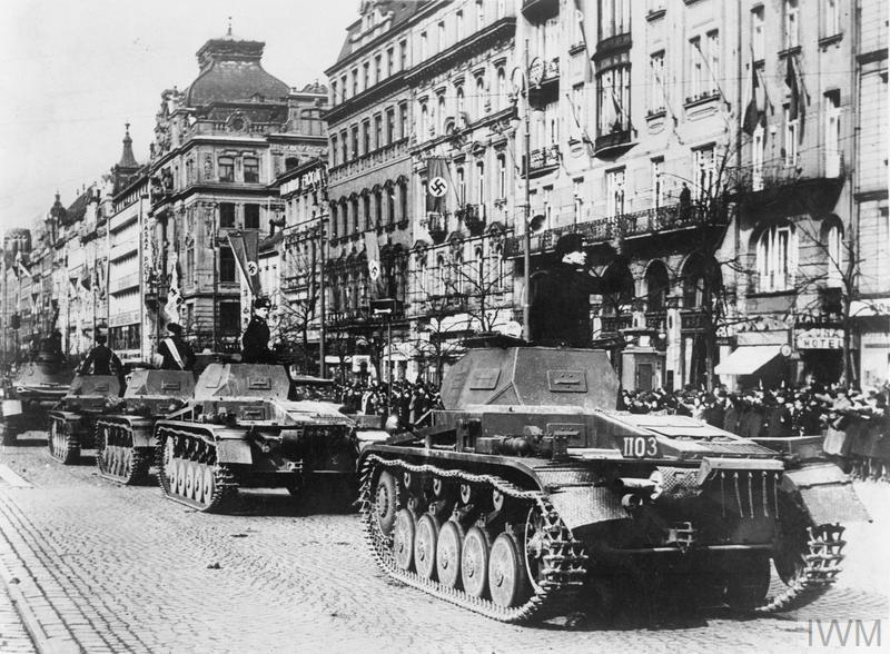 German Panzer II tanks in Wenceslas Square in Prague, 20 April 1939.