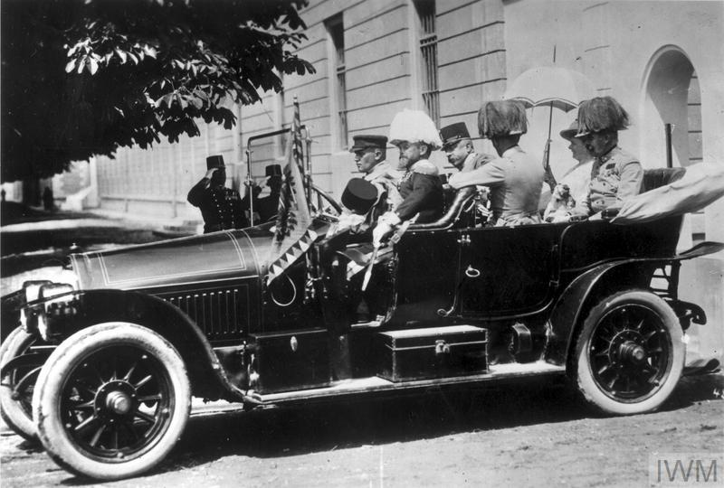 Archduke Franz Ferdinand and his wife photographed shortly before their assassination during their official visit to Sarajevo, 28 June 1914.