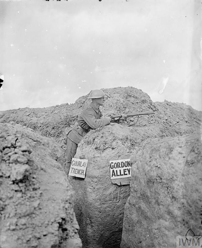 A sentry of the 10th Battalion, Gordon Highlanders at the junction of two trenches - Gourlay Trench and Gordon Alley. Martinpuich, 28 August 1916.