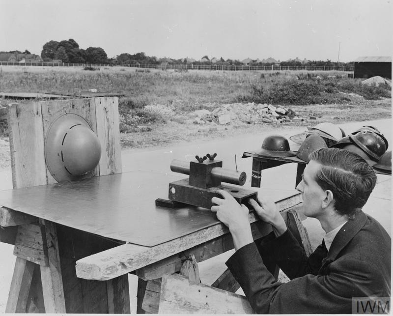 TESTING THE STRENGTH OF A CIVILIAN STEEL HELMET: RESEARCH AT THE MINISTRY OF HOME SECURITY RESEARCH LABORATORIES, OXFORD, OXFORDSHIRE, ENGLAND, UK, 1941