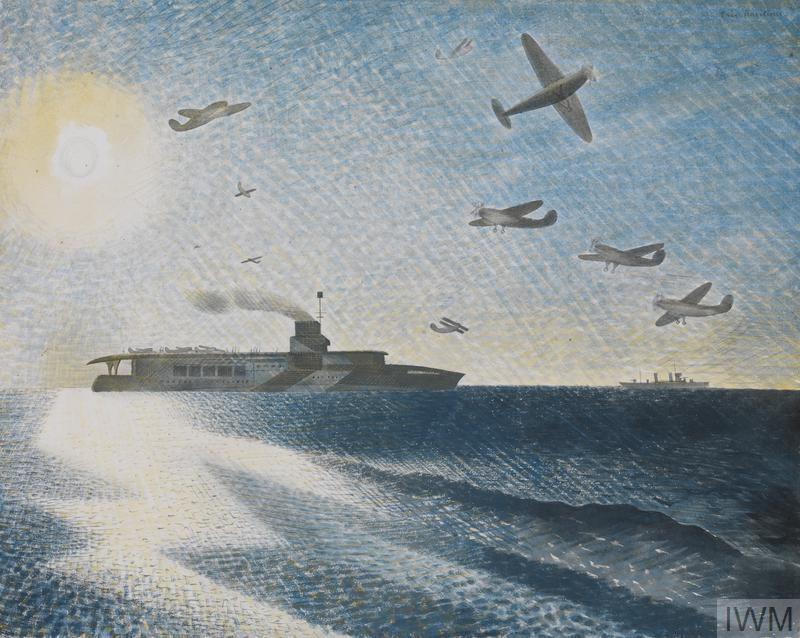 A large ship steaming on a calm sea with small aeroplanes flying in the sky above. The sun shines down from the top left corner of the composition, casting a path of bright rays down onto the sea. In the distance another ship can be seen sailing on the horizon.