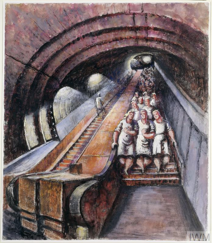 Painting of women descending an escalator to an underground factory in tunnels beneath London during the Blitz