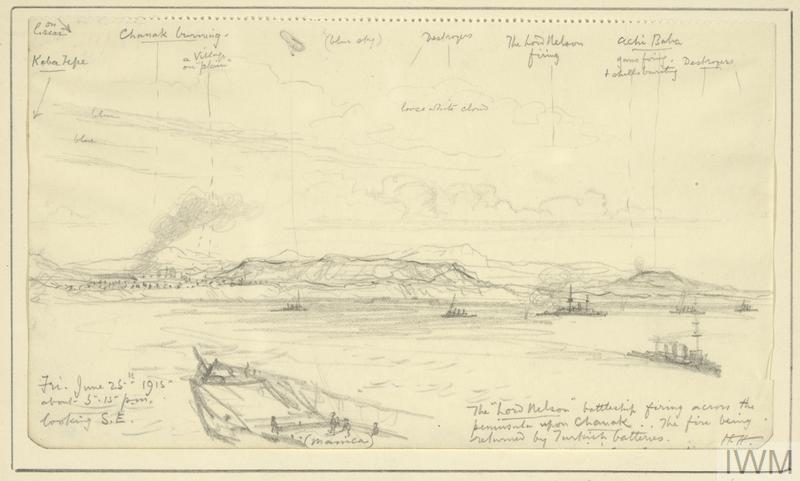 an annotated sketch showing the bow of HMS Manica in the immediate foreground, her attached kite balloon floating high in the sky. To the right HMS Lord Nelson is bombarding Turkish positions at Gallipoli, surrounded by five Royal Navy destroyers. On the coastline to the left, smoke is emanating from the heavily bombarded Chanak.