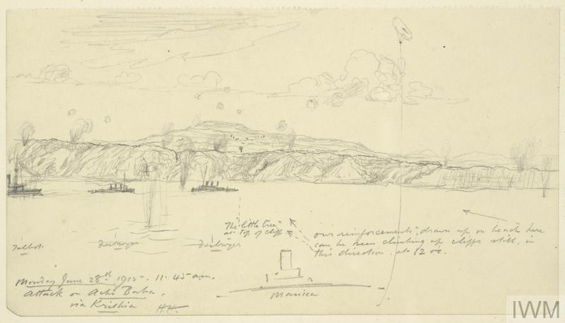 an annotated sketch of a Royal Navy bombardment on Turkish positions near Achi Baba on the Gallipoli peninsula. Part of HMS Manica is shown in the right foreground, her kite balloon floating in the sky above. On the far left is the stern end of HMS Talbot, with two destroyers nearby. The coastline is dotted with clouds of smoke from artillery fire, and there are splashes in the water from Turkish shells fired in retaliation.