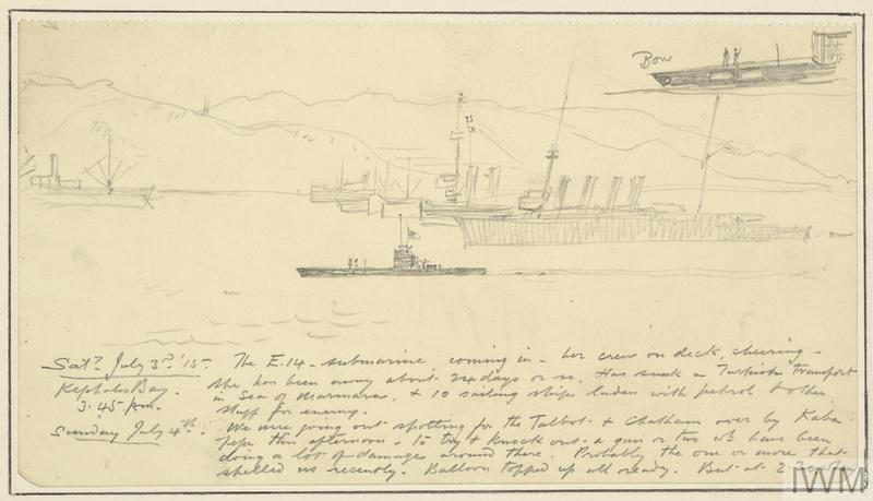 an annotated sketch of Royal Navy submarine E14 sailing on the surface of the water into Kephalos Bay on the island of Imbros. The small figures of crew members can be seen on deck. Behind her the light cruiser HMS Chatham is moored before several transport ships. There is a study of the bow end of the submarine in the upper right corner and extensive handwritten notes in the lower half.
