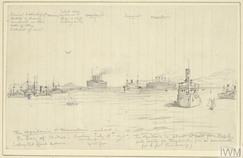 two large four-funnelled liners, the Aquitania and Mauretania, are in the centre, with other transport ships, battleships and cruisers on either side. The image is heavily annotated and is on a sheet of lined paper.