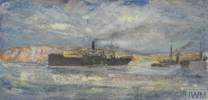 HMS Manica, Balloon Ship, in Kephalos Bay, Imbros