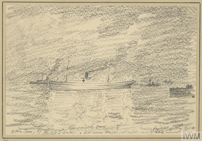 Hospital Ship Brilliantly Lit Up and Very Conspicuous Amidst the Gloom, 3.50am, July 27th 1915