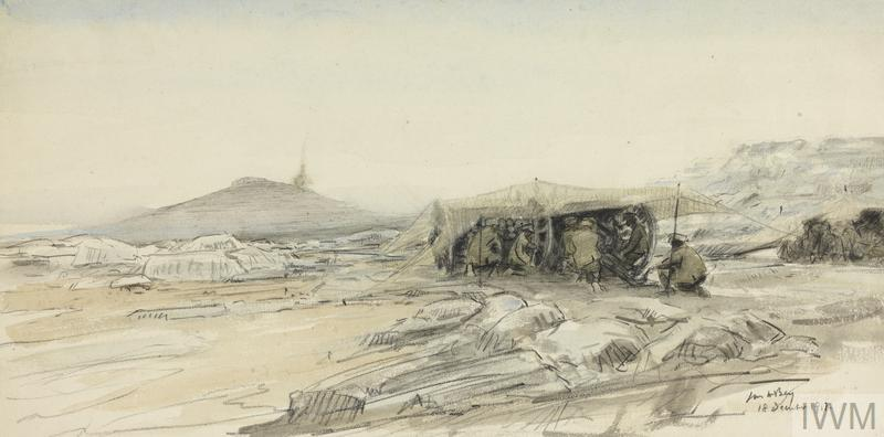 Nebi Samwil. A British Battery In Action : the ancient Mizpah, stormed by the 234th Brigade. A field battery is engaging the Turkish batteries, which are shelling Mizpah.