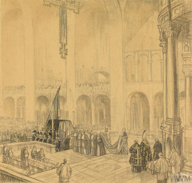 Westminster Cathedral : the visit of the Italian Carabinieri, 1918
