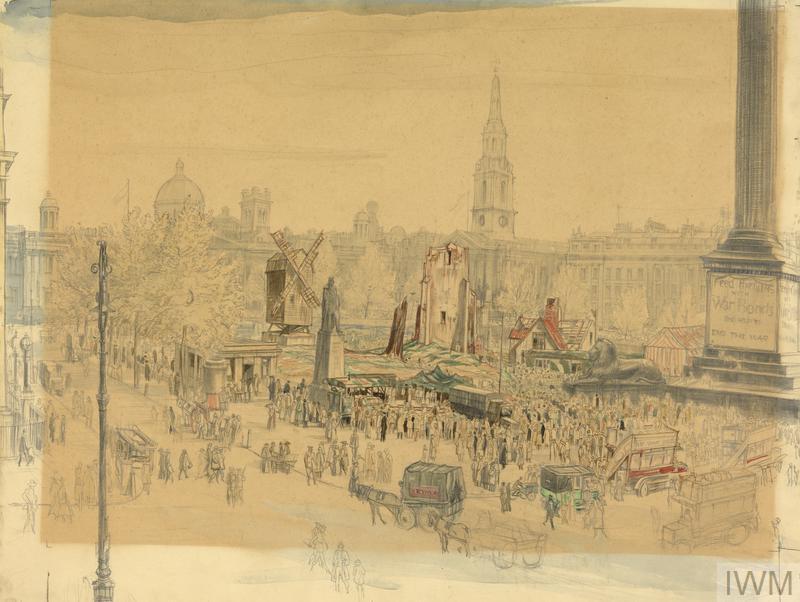 Trafalgar Square, October 1918 : War Savings Campaign: 'Feed the Guns'
