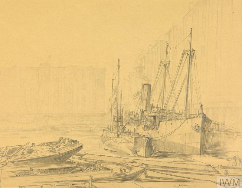 HM 'Q' Ship, Suffolk Coast, and U155 (The Deutschland) : St Katherine's Docks, London 1918