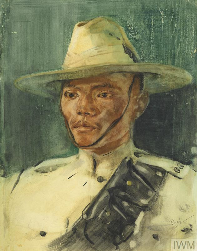 Portrait of a Sepoy of the 2/9th Gurkha Rifles in uniform by John Revel