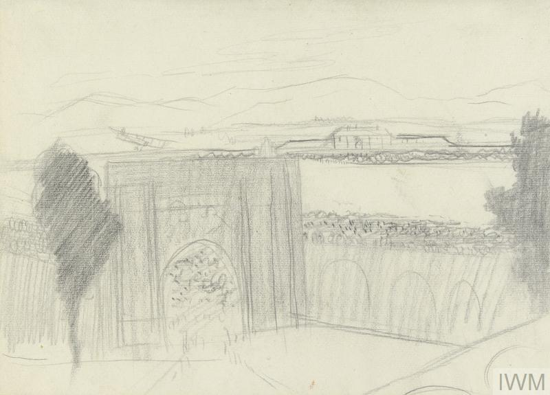 Archway and Wall with Approaching Aircraft, 1919