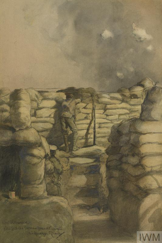 a British infantryman on observation duty in a trench on the Western Front. The man stands at a heavily sandbagged parapet looking through a loophole out into No Man's Land. He stands with his back to the viewer, his rifle, with bayonet attached, propped up against the parapet beside him. Three dirt steps lead up to his position, which appears to be elevated to form an observation post. The surrounding walls of the trenches are also piled high with sandbags.