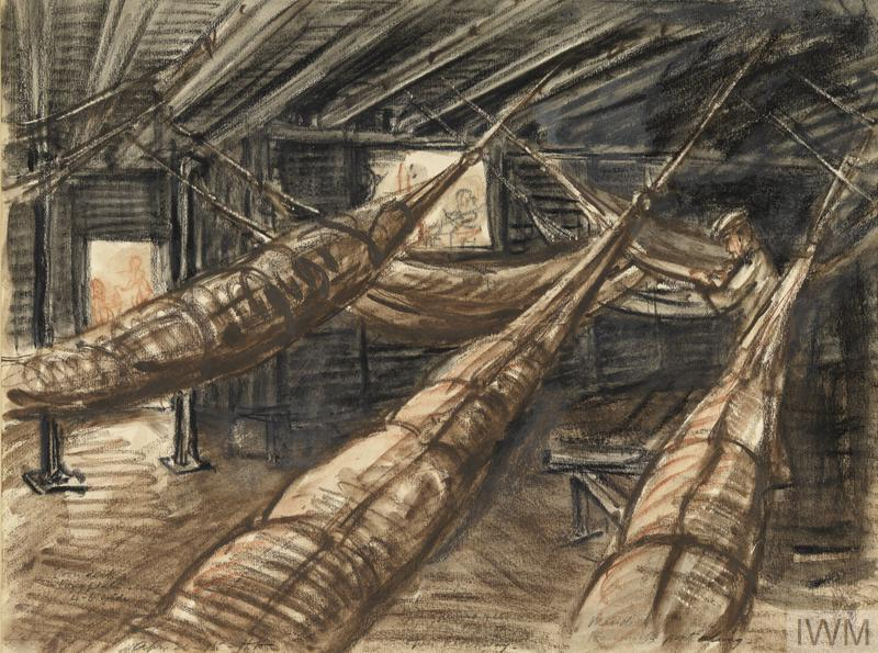 Mess-deck of Manica, with Hammocks Part Slung, April 11th 1915
