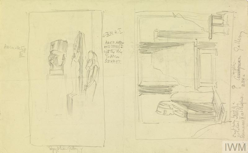 The British Museum: Sketches of Sandbagged Sculptures in the Egyptian Gallery