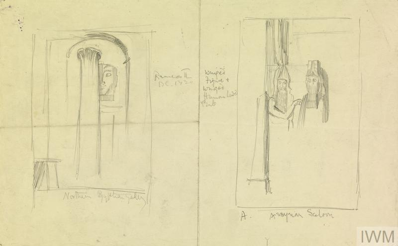 The British Museum: Sketches of Sandbagged Sculptures in the Northern Egyptian and Assyrian Galleries