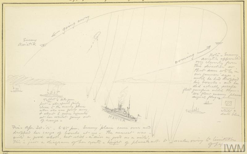 an annotated sketch of HMS Manica and HMS Talbot at sea off the Gallipoli coast, with Turkish biplanes attempting a bombing raid on the former. HMS Manica's kite balloon is shown in the sky above, and a long arrow displays the direction the Turkish aircraft came from before flying away. Coastline is visible to the left and an island is in the background.