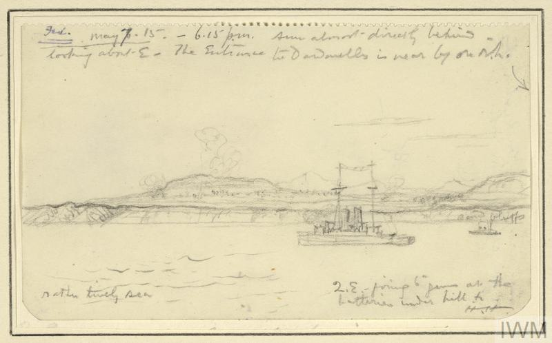 an annotated sketch showing HMS Queen Elizabeth, port side on, bombarding Turkish positions on the Gallipoli coastline. Clouds of smoke on the cliffs show where her artillery fire is falling. Another smaller ship is visible to the right.