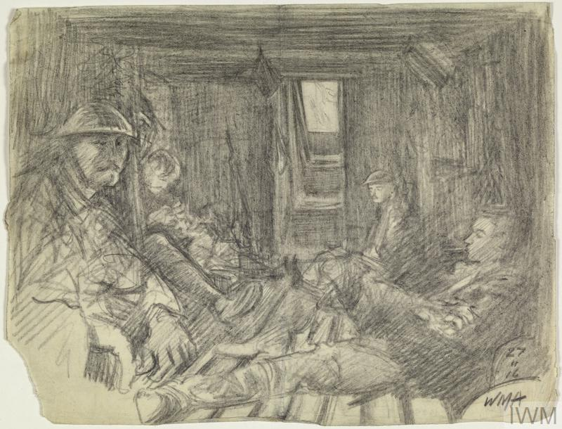 the interior of a dug-out with four British infantrymen sitting inside. Two men sit on either side, with the floor of the dug-out consisting of wooden duckboards. The steps leading up to the open doorway are in the centre background.