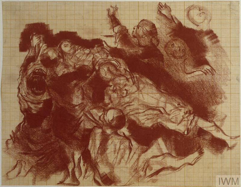 a group of gesticulating figures gathered around a prostrated figure. They are shown from an elevated perspective.