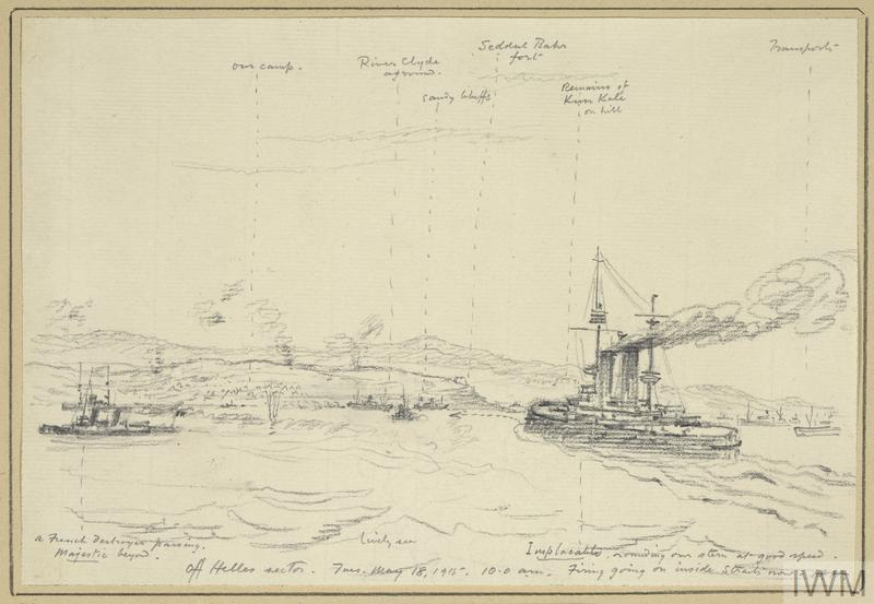 an annotated sketch of Royal Navy warships off Cape Helles. In the right foreground, battleship HMS Implacable sails towards land, with a French destroyer and HMS Majestic to the left. SS River Clyde, deliberately run aground on V Beach during the initial landings, is visible in the centre, with the Sedd-el-Bahr fort overlooking the beach. Clouds of smoke show where shells have fallen.