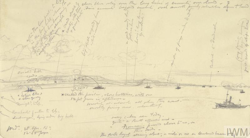 a heavily annotated sketch showing several Royal Navy warships in action bombarding Turkish positions on the coast of Gallipoli. There is a small vessel in the right foreground, with a spaced out line of ships dotted alongside the coast. Some hills are visible to the left.
