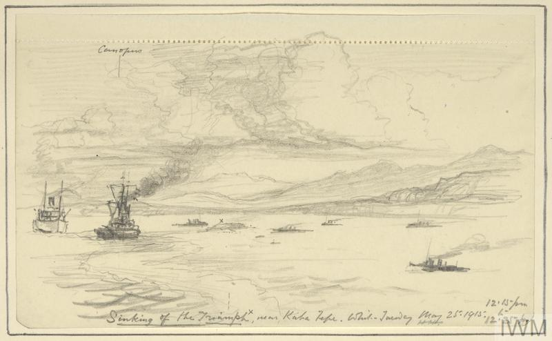 an annotated sketch of the sinking of HMS Triumph off the Gallipoli coast near Kaba Tepe. The sinking ship is just visible in the centre of the composition, with most of the ship already below the surface of the water. To the left, HMS Canopus and another vessel sail nearby, with smaller vessels to the right. The slopes of the coastline are visible in the background.
