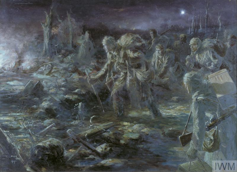 The ghostly scene of a ration party moving through a battlefield at night. The figures of the soldiers are obscured by the light, but they are all laden with boxes and sacks. They make their way through terrain littered with debris, their path lit by the fires of the battle in the left of the composition.