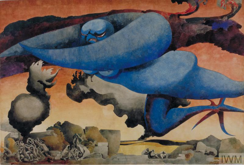 a monstrous blue bird-like figure hovers over a desolate landscape. Clouds of smoke rise from rocky shapes on the ground. A group of figures cower in terror among the ruins of their homes.