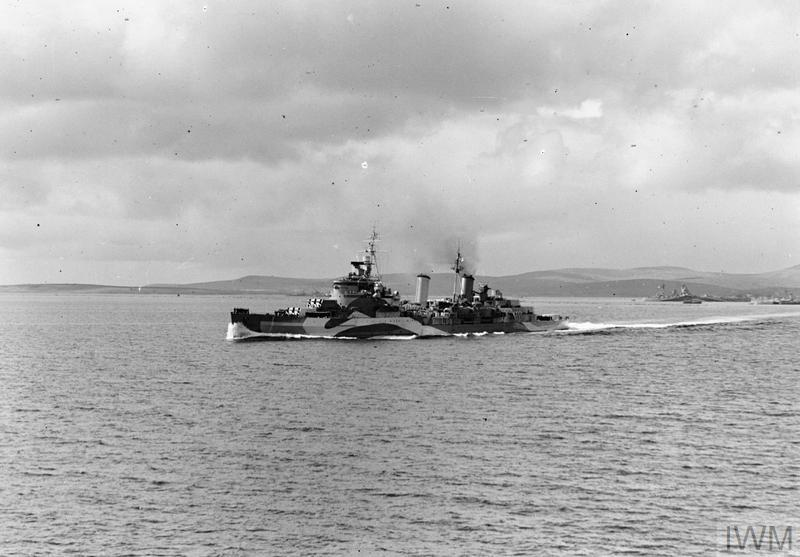 HMS BELFAST leaving Scapa Flow for the Normandy beaches, June 1944.