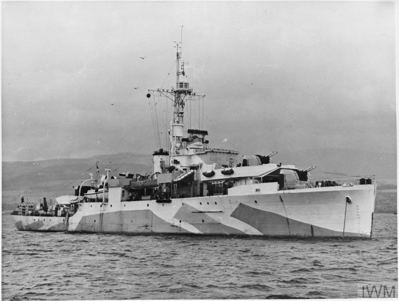 HMS AMETHYST at anchor. The ship was to become notorious during the Yangtse Incident after the Second World War.